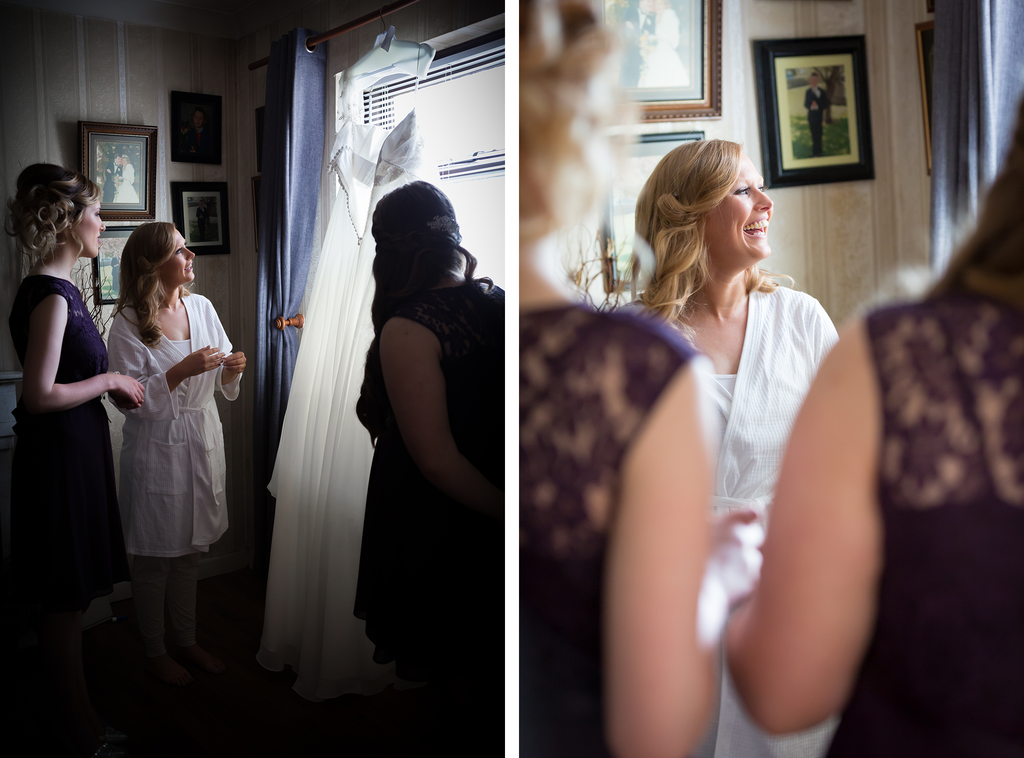 Bride looking at wedding dress photography