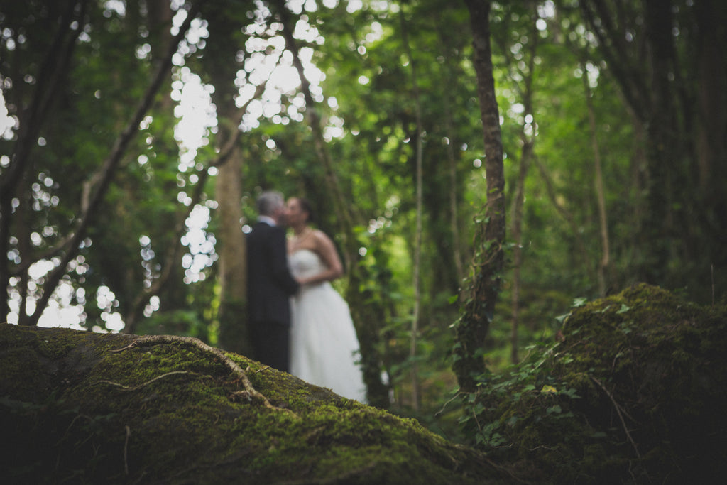 Bride and groom in the forest Galway wedding photography