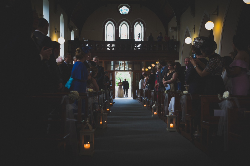 Father of the Bride walking up the Aisle of church wedding photography Galway Loughrea