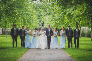 Bridal party having fun Roscommon Galway Wedding photography blue trees walk