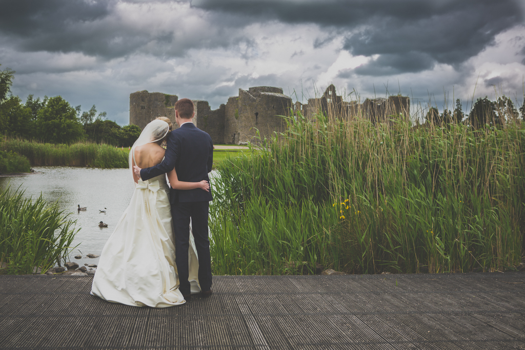 Wedding photography Galway Roscommon Castle Bride and Groom being romantic