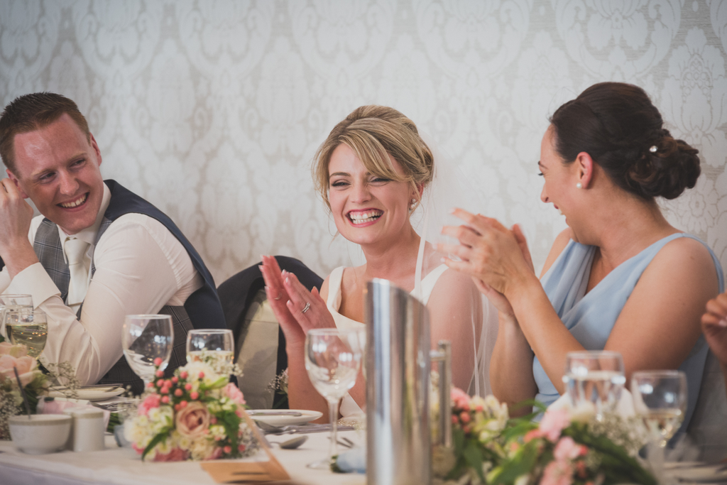 Bride and groom having a laugh speeches top table Roscommon Galway Wedding photography