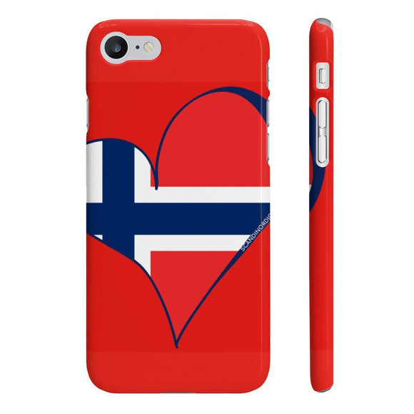 Norway Heart Phone Case Red ~ CUSTOMIZE FREE - SCANDINORDIC.com