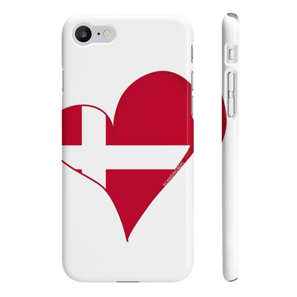 Denmark Heart Phone Case White ~ CUSTOMIZE FREE - SCANDINORDIC.com