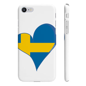 Sweden Heart Phone Case White ~ CUSTOMIZE FREE - SCANDINORDIC.com