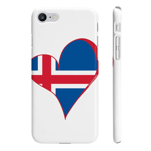 Iceland Flag Heart Phone Case White Red ~ CUSTOMIZE FREE - SCANDINORDIC.com