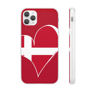 Denmark Heart Phone Case Red ~ CUSTOMIZE FREE - SCANDINORDIC.com