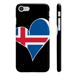 Iceland Flag Heart Phone Case Black ~ CUSTOMIZE FREE - SCANDINORDIC.com