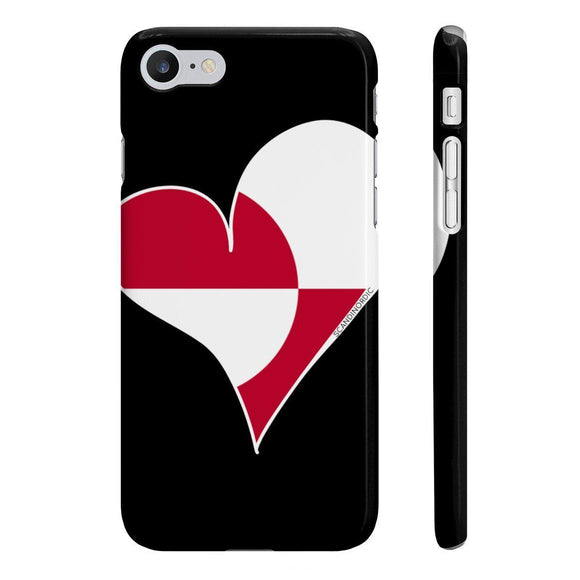 Greenland Heart Phone Case Black ~ CUSTOMIZE FREE - SCANDINORDIC.com