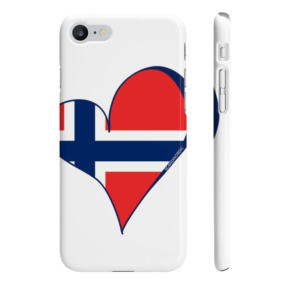 Norway Heart Phone Case White ~ CUSTOMIZE FREE - SCANDINORDIC.com
