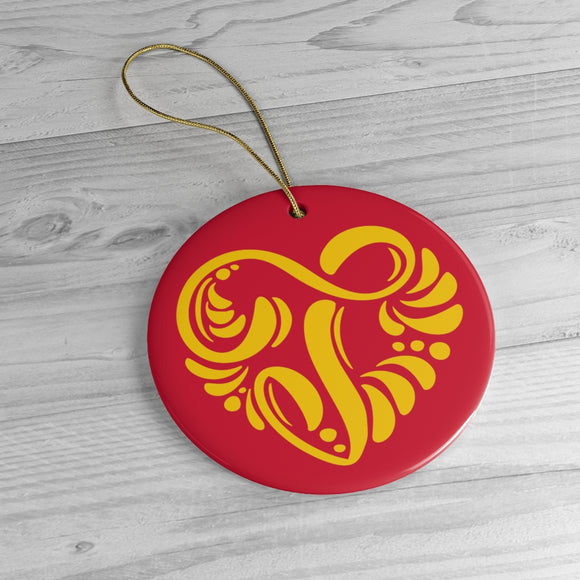 Red Gold Jul Rosemaling Ceramic Ornament - SCANDINORDIC.com