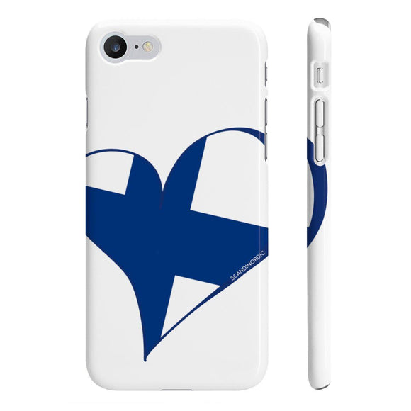 Suomi Finland Heart Phone Case White ~ CUSTOMIZE FREE - SCANDINORDIC.com
