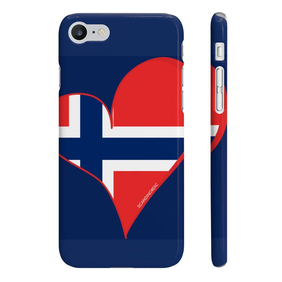 Norway Heart Phone Case Blue CUSTOMIZE FREE - SCANDINORDIC.com