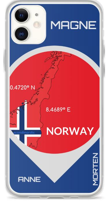Norway Map iPhone Case FREE CUSTOMIZATION - SCANDINORDIC.com