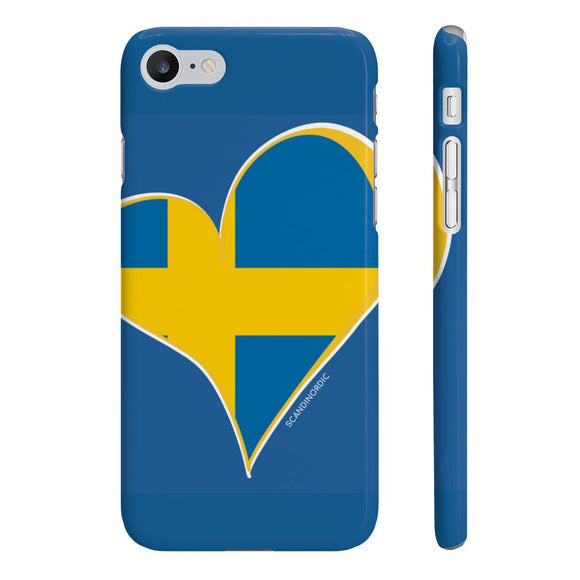 Sweden Heart Phone Case Blue ~ CUSTOMIZE FREE - SCANDINORDIC.com