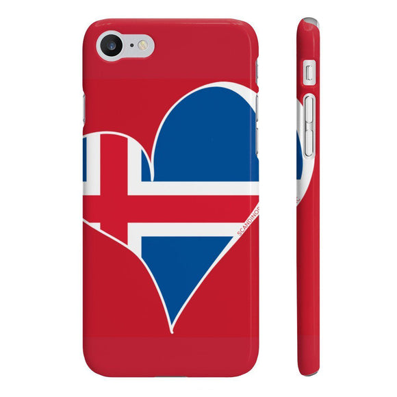 Iceland Flag Heart Phone Case Red ~ CUSTOMIZE FREE - SCANDINORDIC.com