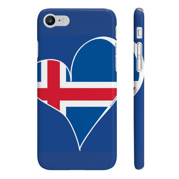 Iceland Flag Heart Phone Case Blue ~ CUSTOMIZE FREE - SCANDINORDIC.com