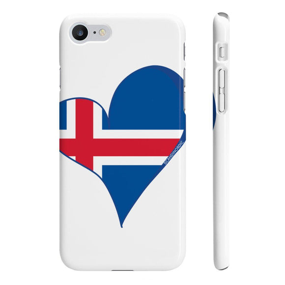Iceland Flag Heart Phone Case White Blue ~ CUSTOMIZE FREE - SCANDINORDIC.com