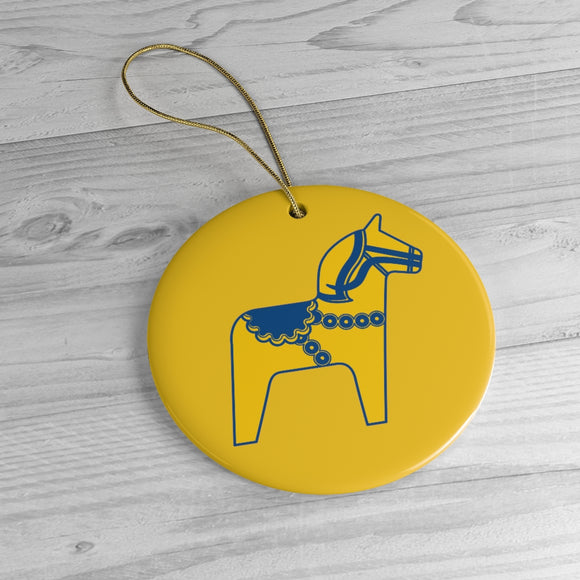 Swedish Dala Horse Yellow Ceramic Tree Ornament - SCANDINORDIC.com