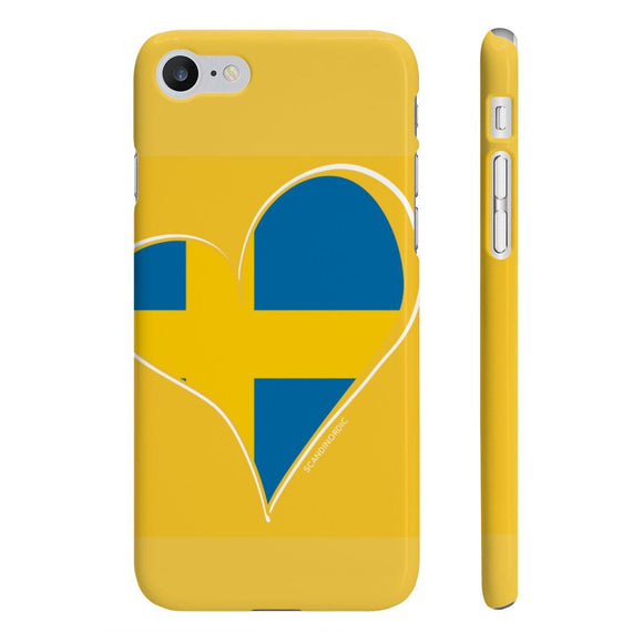 Sweden Heart Phone Case Yellow ~ CUSTOMIZE FREE - SCANDINORDIC.com