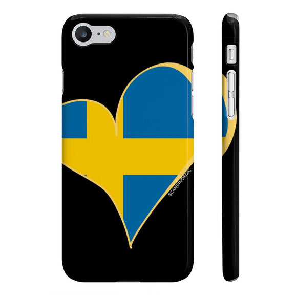 Sweden Heart Phone Case Black ~ CUSTOMIZE FREE - SCANDINORDIC.com