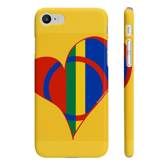 Sami Heart Phone Case Yellow ~ CUSTOMIZE FREE - SCANDINORDIC.com