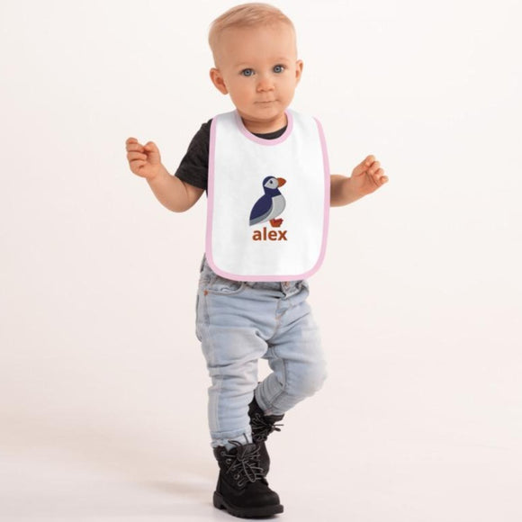 Arctic Puffin Embroidered Baby Bib - SCANDINORDIC.com