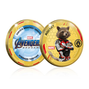 Marvel Los Vengadores Endgame, Rocket - Moneda / Medalla conmemorativa acuñada con baño en Oro 24 quilates y coloreada a 4 colores - 44mm