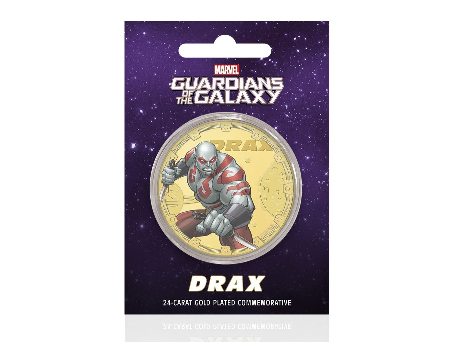 Marvel Guardianes de la Galaxia - Drax - Moneda / Medalla conmemorativa acuñada con baño en Oro 24 quilates y coloreada a 4 colores - 44mm