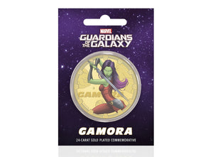 Marvel Guardianes de la Galaxia - Gamora - Moneda / Medalla conmemorativa acuñada con baño en Oro 24 quilates y coloreada a 4 colores - 44mm