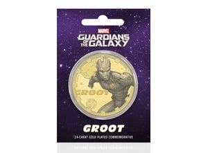 Marvel Guardianes de la Galaxia - Groot - Moneda / Medalla conmemorativa acuñada con baño en Oro 24 quilates y coloreada a 4 colores - 44mm
