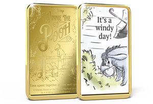 Disney Winnie the Pooh, Lingotes bañados en Oro 24 Quilates - It's A Windy Day