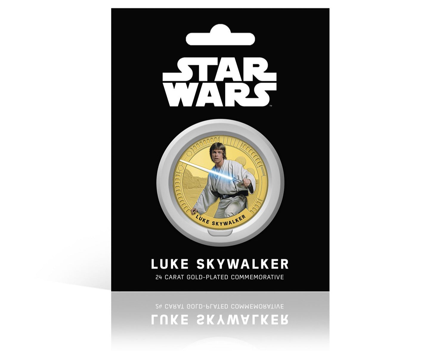 Star Wars Trilogía Original Episodios IV - VI - Luke Skywalker - Moneda / Medalla conmemorativa acuñada con baño en Oro 24 quilates y coloreada a 4 colores - 44mm