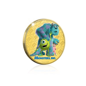 Disney Pixar Monstruos SA - Moneda / Medalla conmemorativa acuñada con baño en Oro 24 quilates y coloreada a 4 colores - 44mm