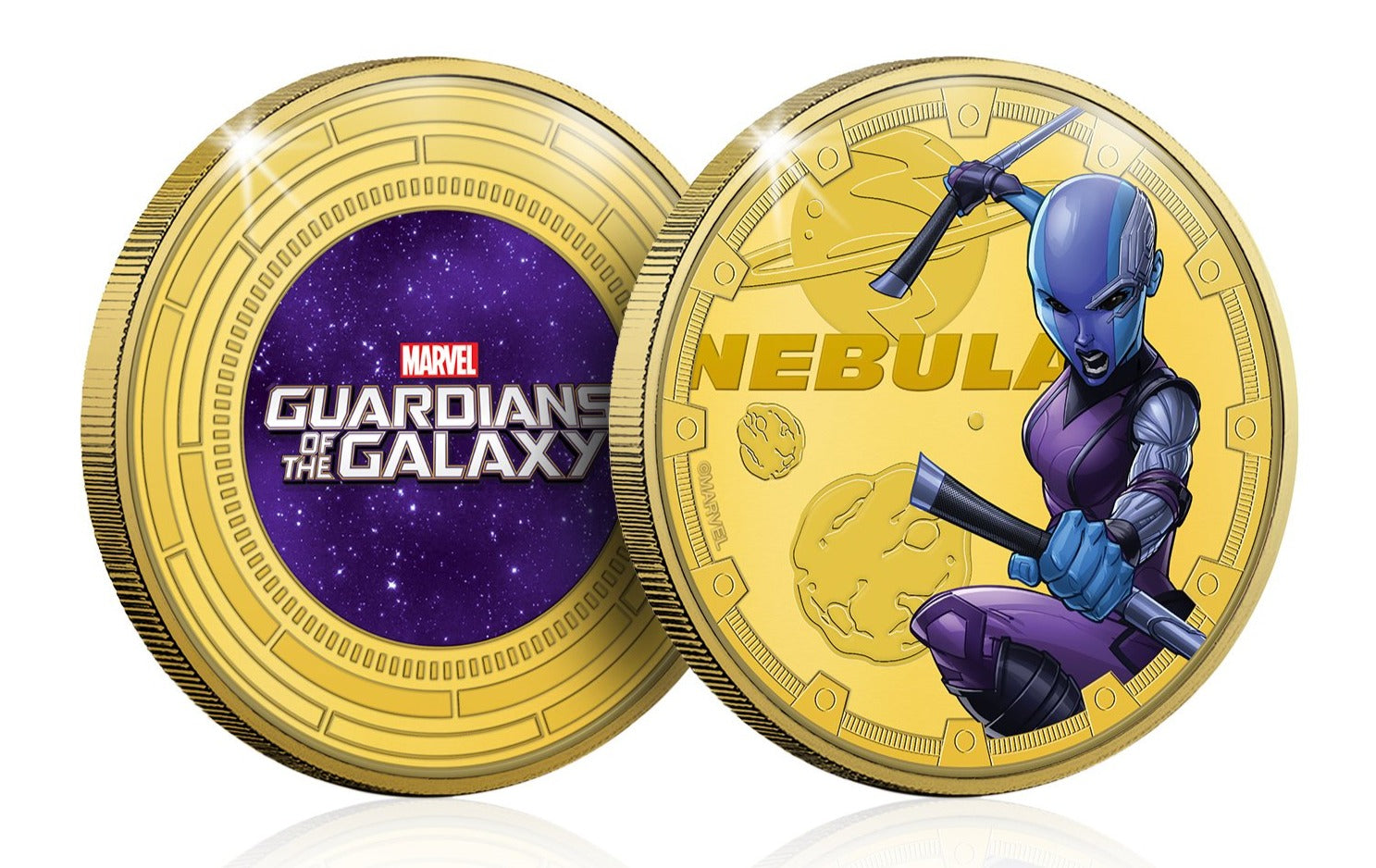 Marvel Guardianes de la Galaxia - Nebula - Moneda / Medalla conmemorativa acuñada con baño en Oro 24 quilates y coloreada a 4 colores - 44mm