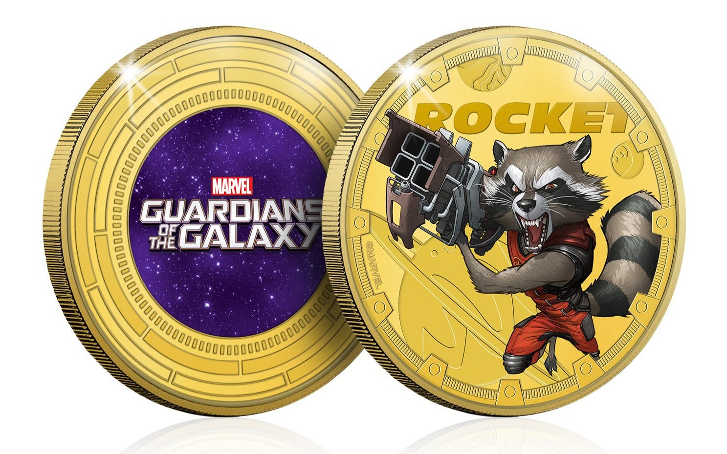 Marvel Guardianes de la Galaxia - Rocket - Moneda / Medalla conmemorativa acuñada con baño en Oro 24 quilates y coloreada a 4 colores - 44mm