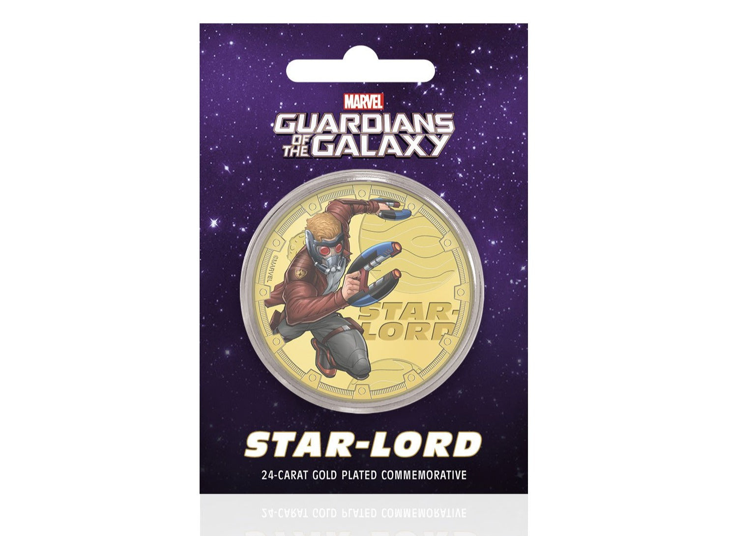 Marvel Guardianes de la Galaxia - Star-Lord - Moneda / Medalla conmemorativa acuñada con baño en Oro 24 quilates y coloreada a 4 colores - 44mm