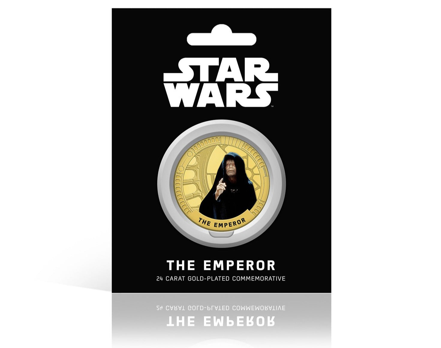 Star Wars Trilogía Original Episodios IV - VI - The Emperor - Moneda / Medalla conmemorativa acuñada con baño en Oro 24 quilates y coloreada a 4 colores - 44mm