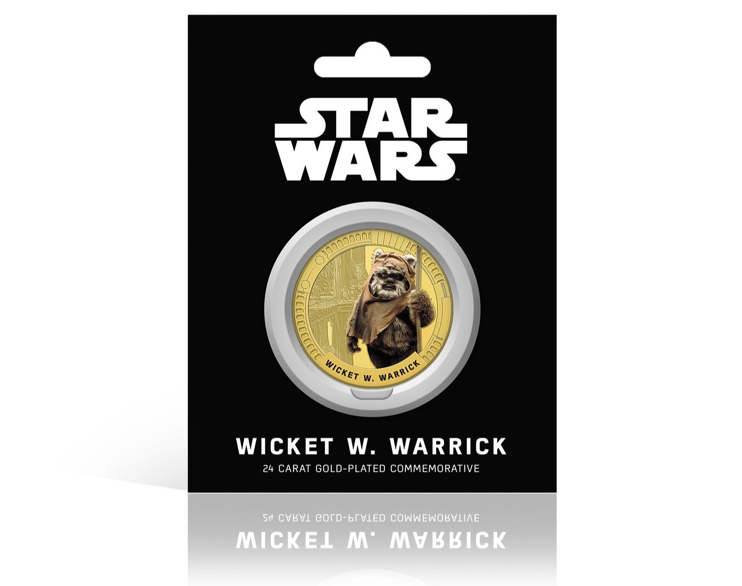Star Wars Trilogía Original Episodios IV - VI - Wicket W. Warrick - Moneda / Medalla conmemorativa acuñada con baño en Oro 24 quilates y coloreada a 4 colores - 44mm