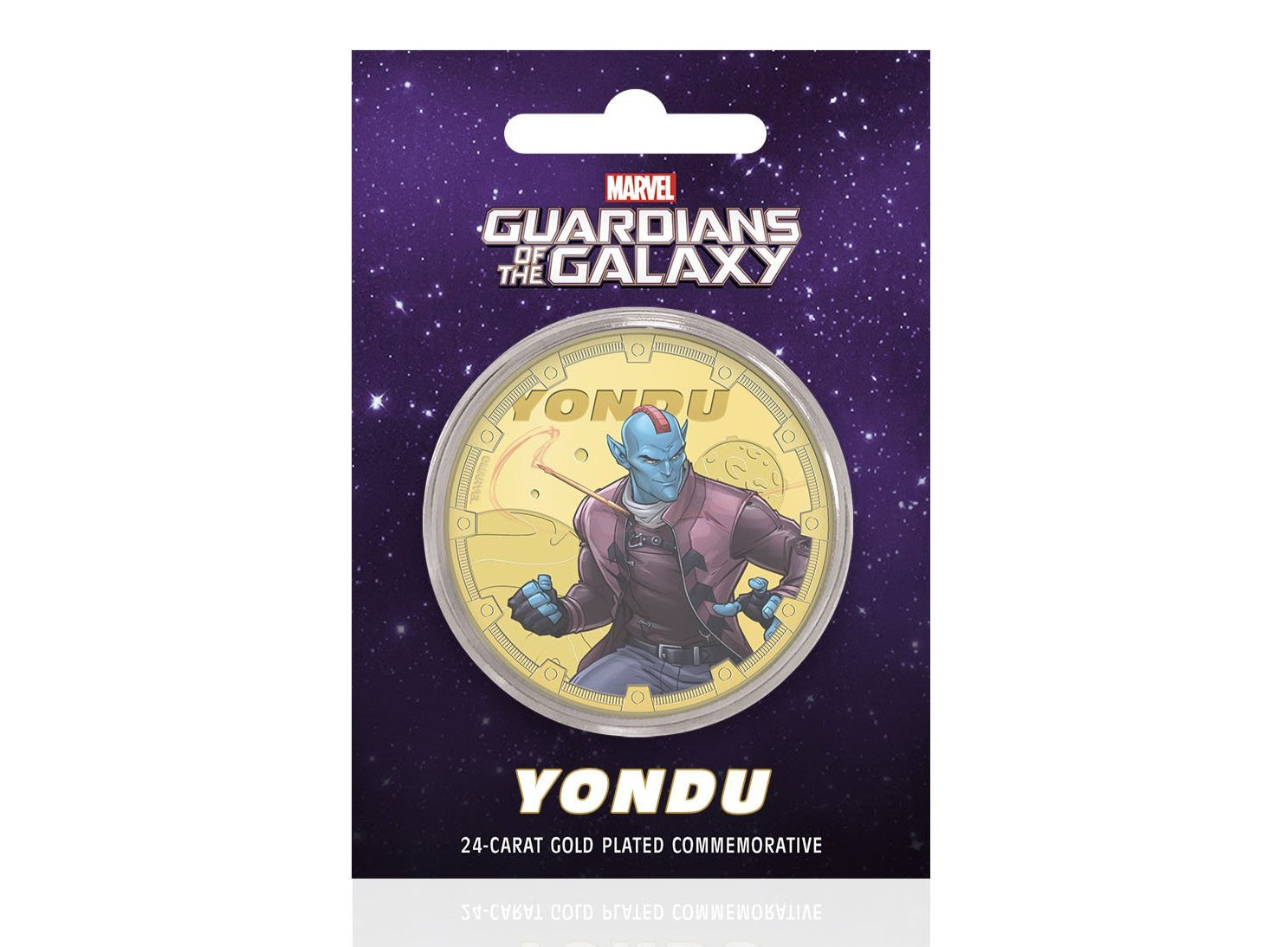 Marvel Guardianes de la Galaxia - Yondu - Moneda / Medalla conmemorativa acuñada con baño en Oro 24 quilates y coloreada a 4 colores - 44mm