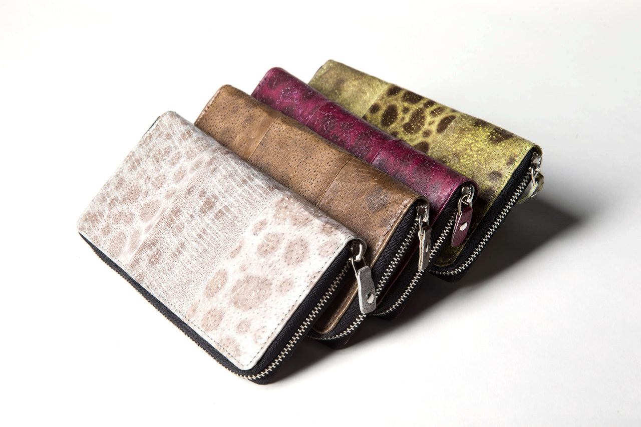 Fish-skin wallet with zipper
