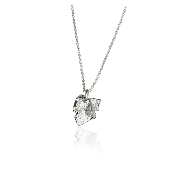 Fire and Ice Silver Necklace with cubic zirconia