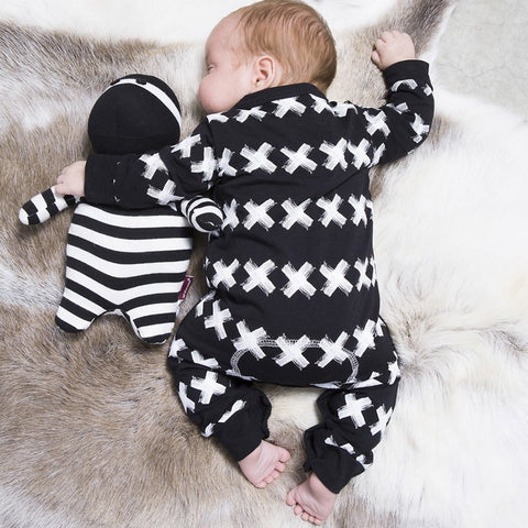X Marks The Spot Cotton Rompers