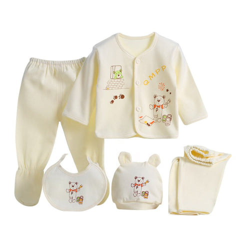 Animal Print 5-Piece Clothing Set for Newborn (3 Colors)