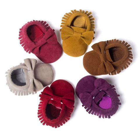 Handmade Butterfly-Knot Baby Moccasins (6 Colors)