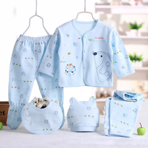 5-Piece Newborn Clothing Set for Boy/Girl 100% Cotton (3 Colors)