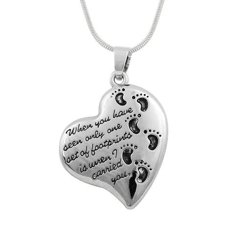 Footprints on My Heart Necklace