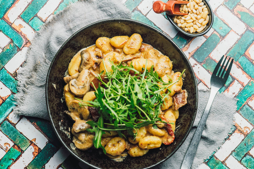One-Pan Creamy Vegan Gnocchi with Smoky Steak & Mushrooms Recipe