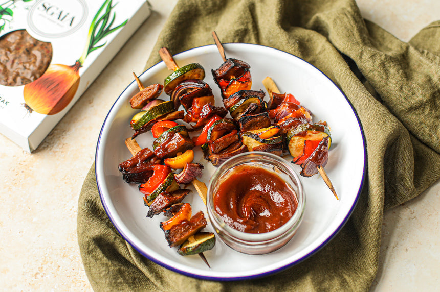 Sticky Glazed Vegan Steak Kebabs Recipe