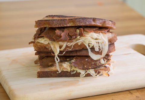 Reuben made with Sgaia's Pastramheat and Smoked Provolone Cheeze